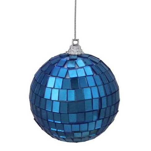 Northlight 6ct Lavish Blue Mirrored Glass Disco Ball Christmas Ornaments 2 75 70mm