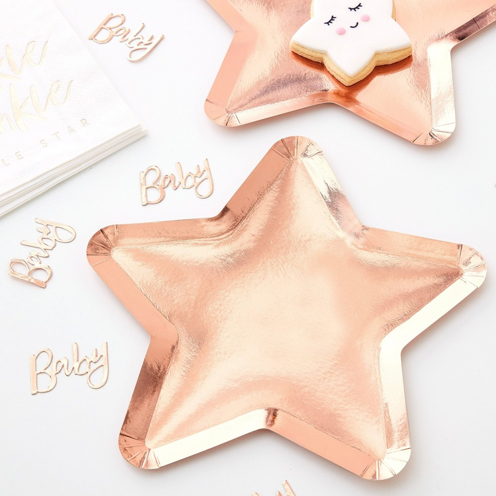 Image of Star Shaped Disposable Plate Rose Gold
