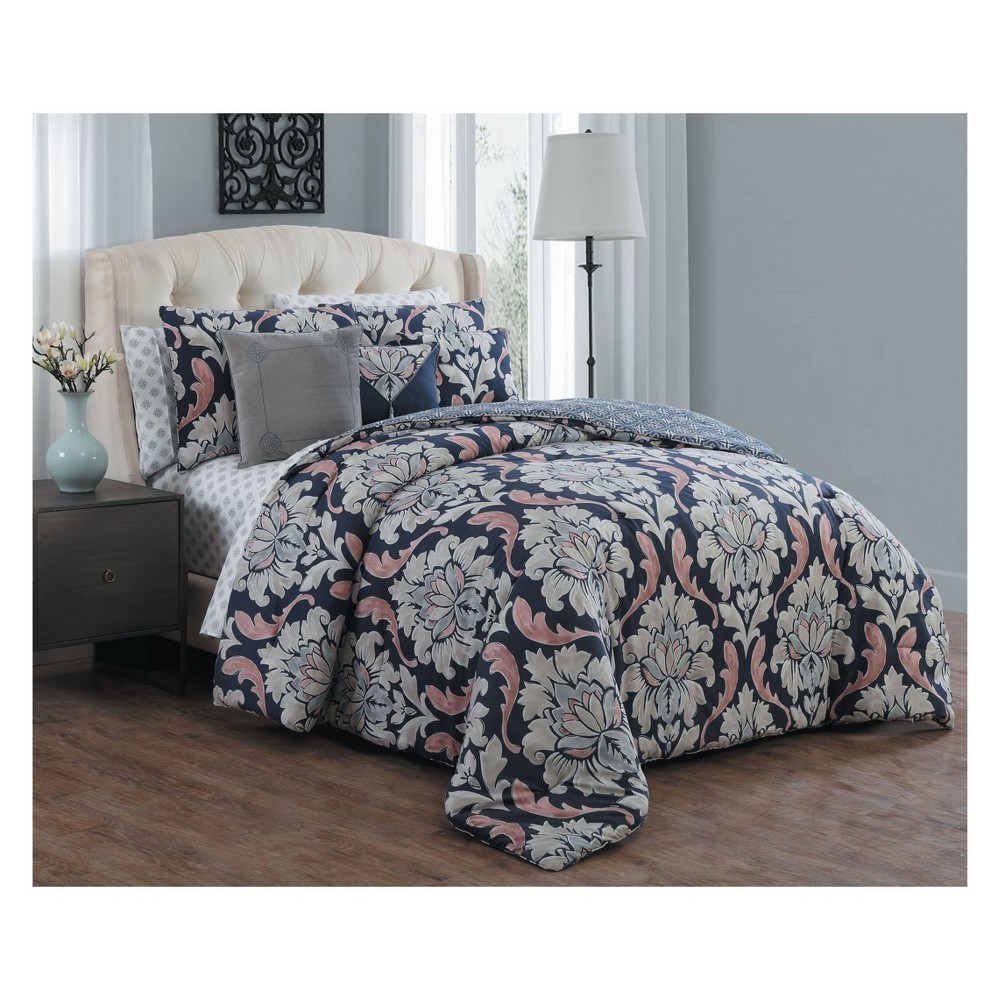 10pc Queen Forter Comforter Set Navy - Avondale Manor, Multicolored