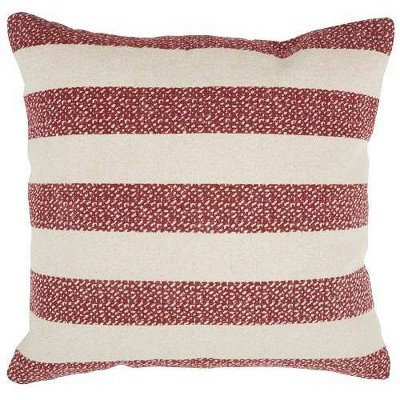 Life Styles Printed Stripes Oversize Square Throw Pillow Red - Mina Victory