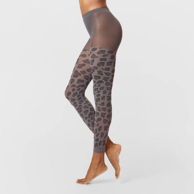 Hue Studio Women's Cover Me Opaque Footless Tights - Gray Leopard