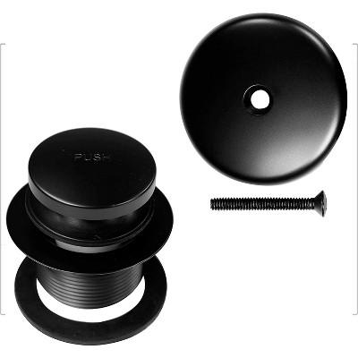 Westbrass 1.5 Inch Diameter Round Universal Tiptoe Pop Up Drain Bathtub Trim Set with 1-Hole Faceplate, Matte Black