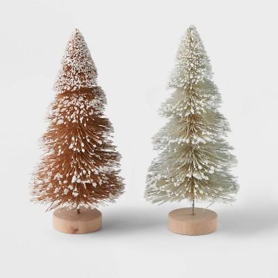 2pk Glitter Bottle Brush Christmas Tree Set Neutral - Wondershop™