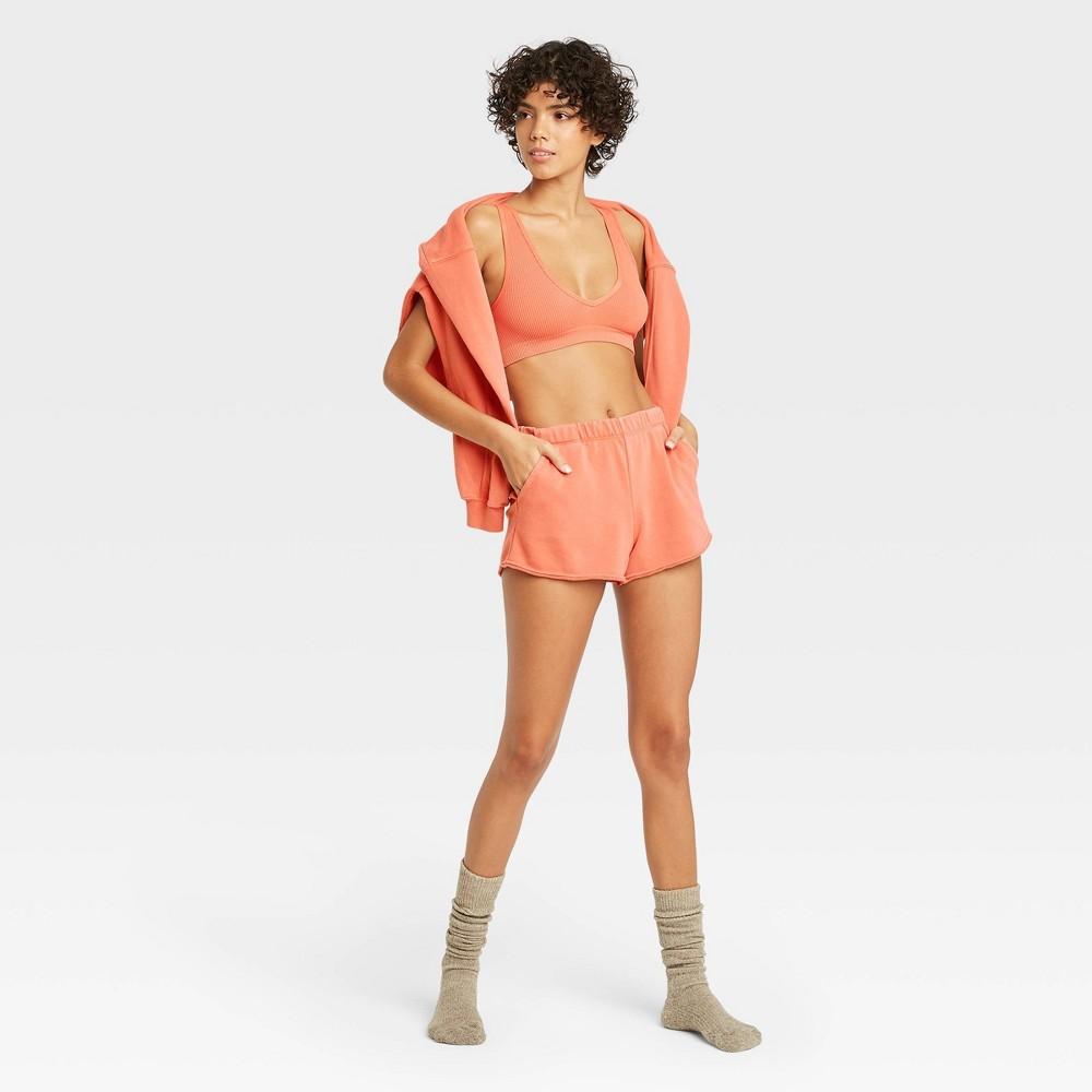 Women 39 S French Terry Lounge Shorts Colsie 8482 Orange S