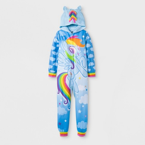 Girls' My Little Pony Hooded Union Suit - Blue - image 1 of 1