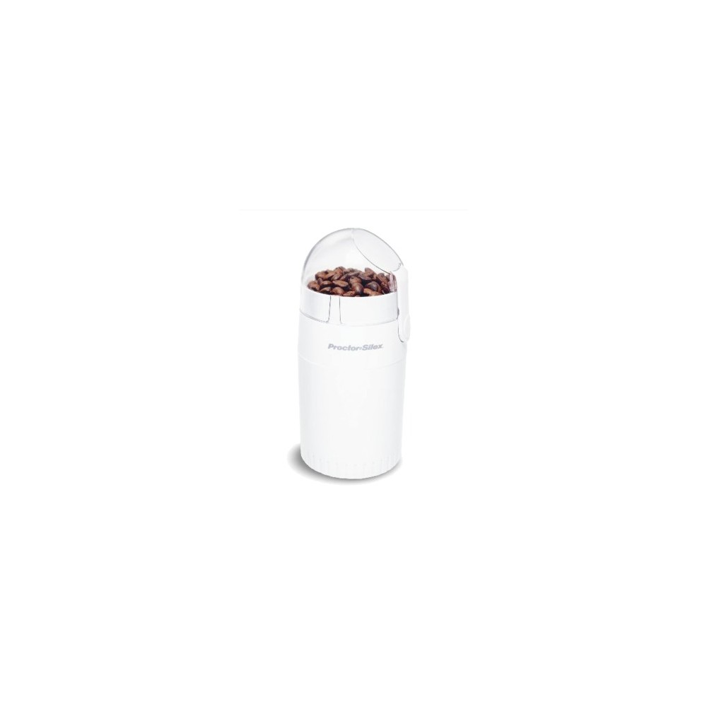 Proctor Silex Coffee & Spice Grinder- White E160BY Capture the full flavor of coffee beans with the 10-cup grinder from Proctor Silex. The blade chops beans into fine, medium or coarse grounds. With dishwasher-safe parts and a retractable cord, it's easy to clean and store after use.