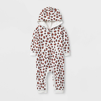 Baby Girls' Leopard Spot Hooded French Terry Romper - Cat & Jack™ Cream 18M