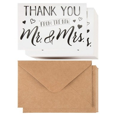 """120 Thank you From the New Mr. and Mrs. Cards Set for Wedding w/Envelopes, 4""""x6"""""""