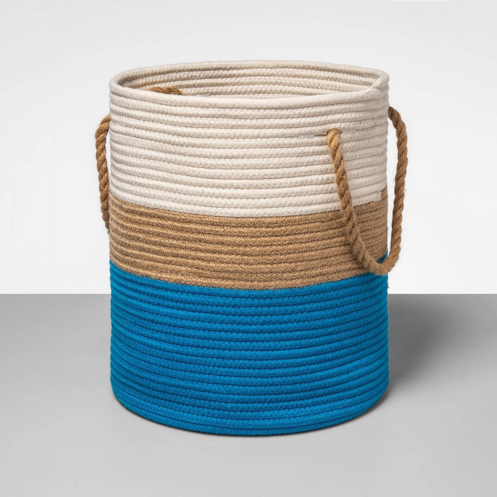 Coiled Rope Basket White Blue Opalhouse 8482