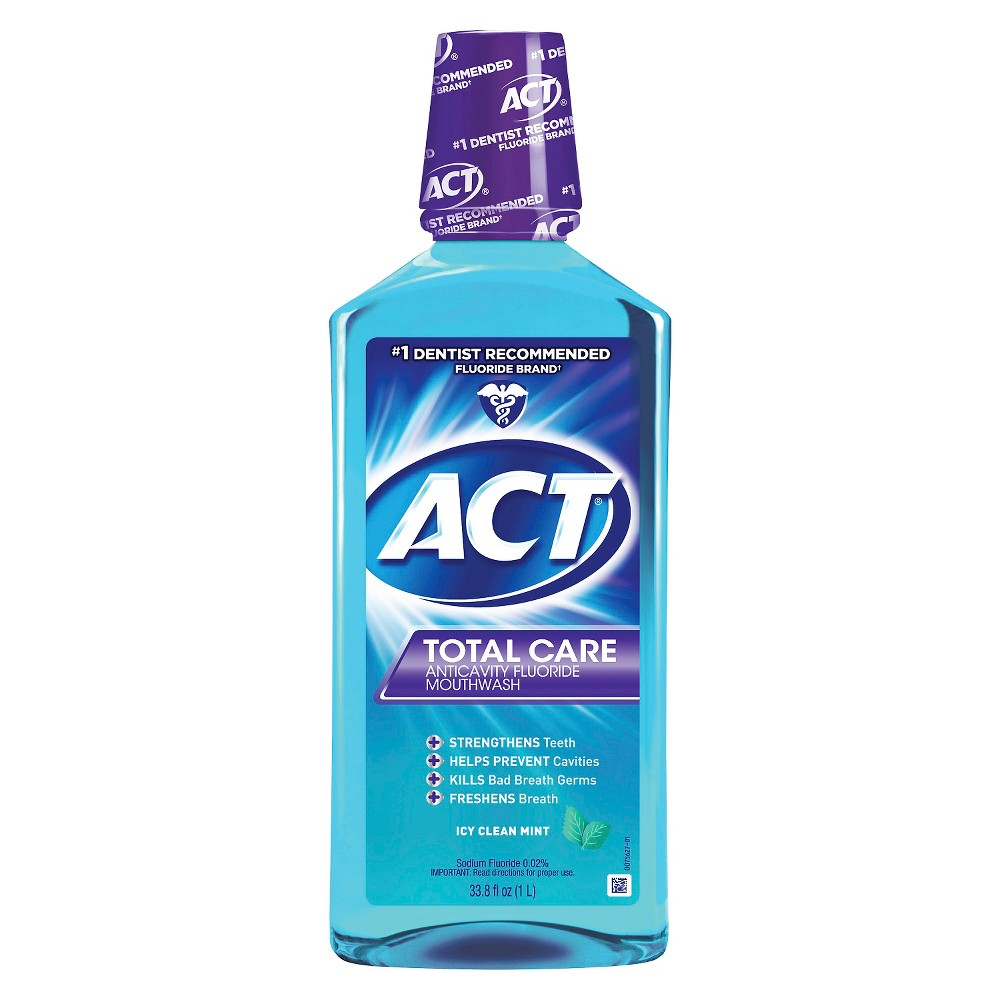 Image of Act Total Care Anticavity Fluoride Mouthwash Icy Clean Mint - 33.8 fl oz