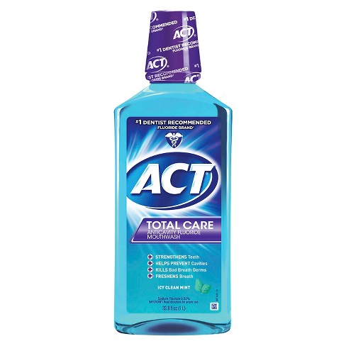 Act Total Care Anticavity Fluoride Mouthwash Icy Clean Mint - 33.8 fl oz - image 1 of 2