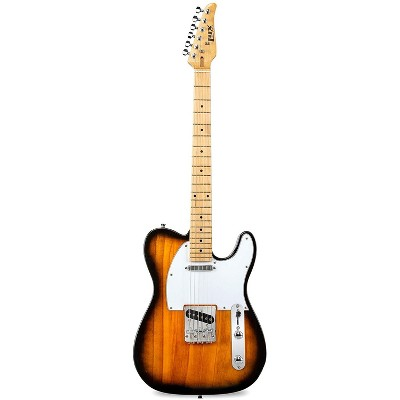 """LyxPro 39"""" Electric Telecaster Guitar   Solid Full-Size Paulownia Wood Body, 3-Ply Pickguard, C-Shape Neck, Ashtray Bridge, Quality Gear Tuners, 3-Way Switch & Volume/Tone Controls   2 Picks Included"""