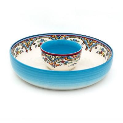 2pc Earthenware Zanzibar Chip and Dip Serving Set - Euro Ceramica