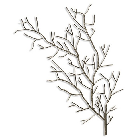 "37.4"" Right Metal Tree Branch Decorative Wall Art Silver - StyleCraft - image 1 of 1"