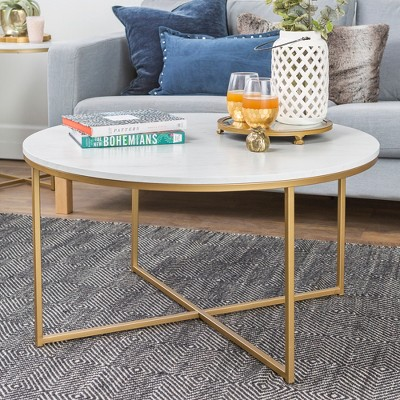 36  Coffee Table with X - Base - Marble/Gold - Saracina Home