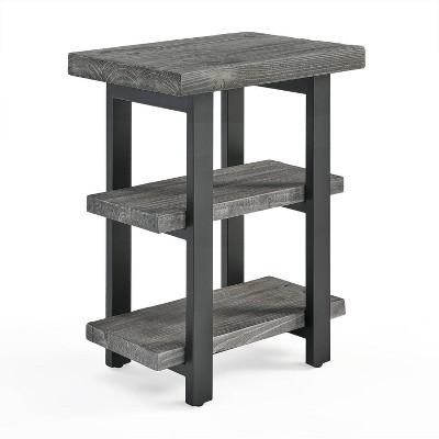 Pomona Metal and Reclaimed Wood 2 Shelf End Table Slate Gray - Alaterre Furniture