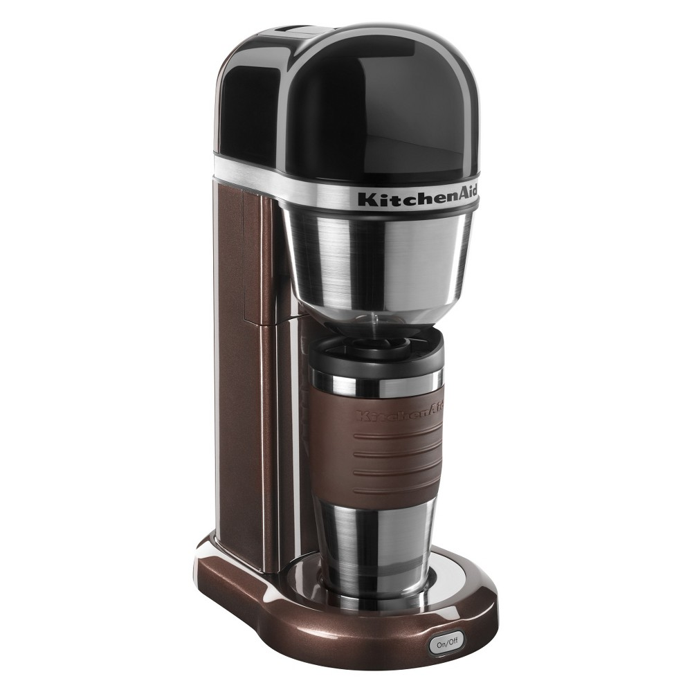 KitchenAid Personal Coffee Maker - KCM0402, Brown A coffee maker just for you. Brew your favorite coffee quick and easy with one-touch operation directly into the included 18 oz. thermal mug or a mug of your choice. Convenient features such as a removable water tank and reusable gold tone filter come standard. Color: Espresso.