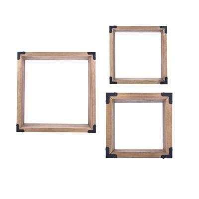3pc Rustic Hanging Open Shadow Boxes Brown/Black - Danya B.