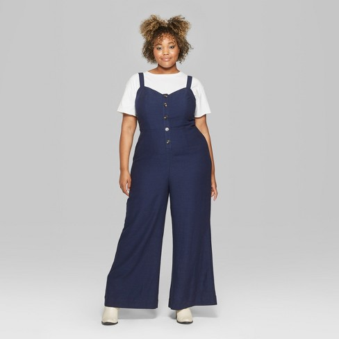 56775b13172 Women s Strappy Button Front Tie Back Jumpsuit Plus - Wild Fable™ Oxford  Blue 3X   Target