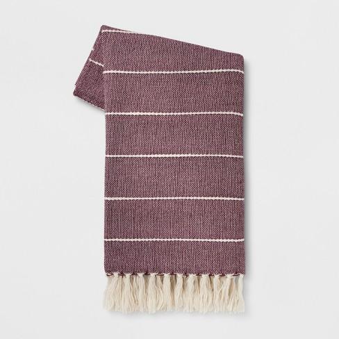 "60""x50"" Woven Stripe Throw Blanket Purple - Opalhouse™ - image 1 of 3"