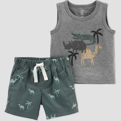 Baby Boys' Safari Top & Bottom Set - Just One You® made by carter's Olive 9M
