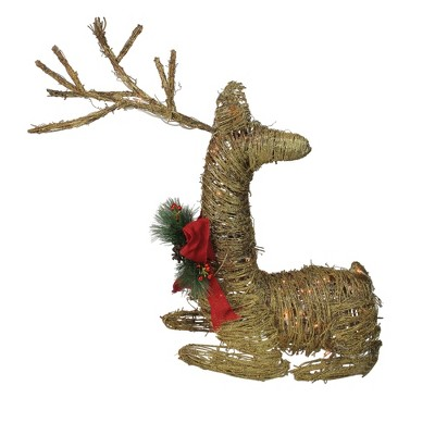 "Northlight 30"" Pre-Lit Gold Reindeer with Bow Outdoor Christmas Decor"
