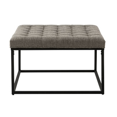 "28"" Square Button Tufted Metal Ottoman - WOVENBYRD"