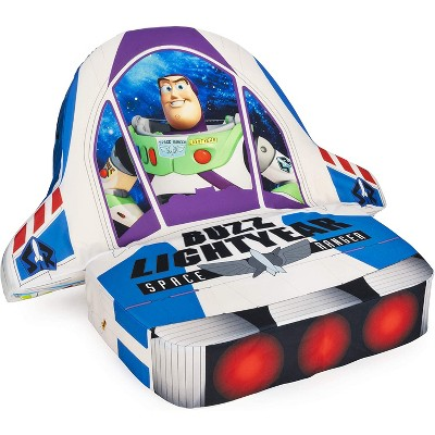 Marshmallow Furniture Children's 5-in-1 Toy Story Buzz Lightyear Transforming Lounging Cushion Plush Chair