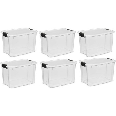 Sterilite 30 Quart Clear Plastic Latching Storage Container Box (6 Pack)