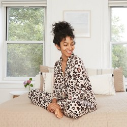 Women's Animal Print Beautifully Soft Long Sleeve Notch Collar Top and Pants Pajama Set - Stars Above™ Oatmeal