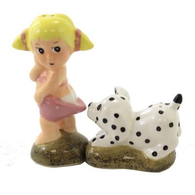 """Tabletop 4.75"""" Little Girl W/Dog Salt & Pepper Suntan Blonde Bikini One Hundred 80 Degree  -  Salt And Pepper Shaker Sets"""