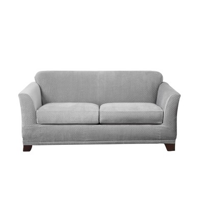 Stretch Modern Block Loveseat Slipcover Gray - Sure Fit