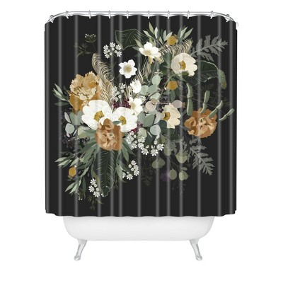 Iveta Abolina Paloma Night Shower Curtain Black - Deny Designs