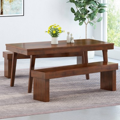 Greenway Rectangular Dining Table and Bench - Rich Mahogany - Christopher Knight Home