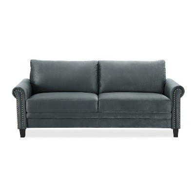 Ashley Microfiber Upholstery Sofa with Nailhead Trimming Dark Gray - Lifestyle Solutions