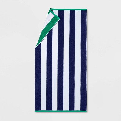 Reversible Cabana Striped Beach Towel Green/Navy - Sun Squad™