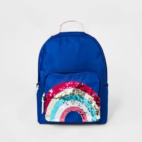"Kids' Rainbow Sequin Pocket Backpack - Cat & Jack™ Purple 16"" - image 1 of 3"