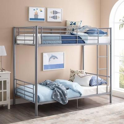 Twin over Twin Premium Metal Bunk Bed Silver - Saracina Home