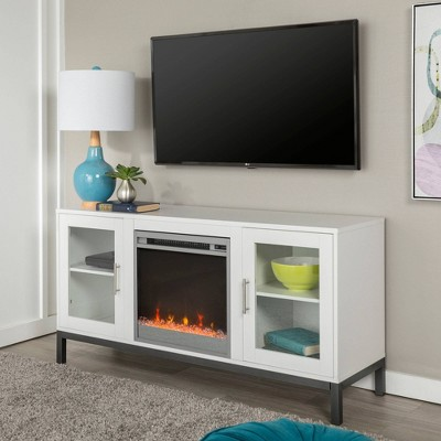 """Wood Fireplace TV Console with Metal Legs for TVs up to 58"""" White - Saracina Home"""