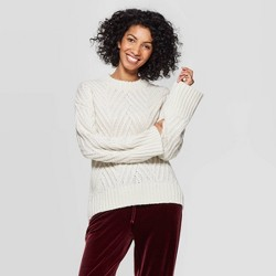 Women's Long Sleeve Crewneck Chevron Stitch Pullover Sweater - A New Day™