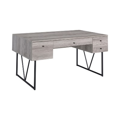 Coaster Home Furniture Analiese Industrial 4 Drawer Home Office Writing Desk, Grey Driftwood Finish