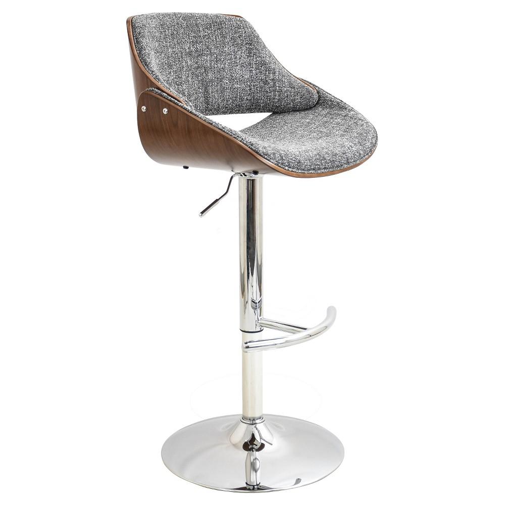 Fabrizi Mid-Century Modern Adjustable Barstool - Gray - LumiSource
