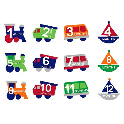 Pearhead All Aboard Baby Milestone Stickers - 12ct