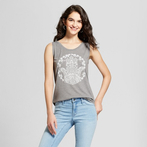 Women's Drapey Tie-Back Hamsa Aura Graphic Tank Top - Fifth Sun (Juniors') Gray - image 1 of 2