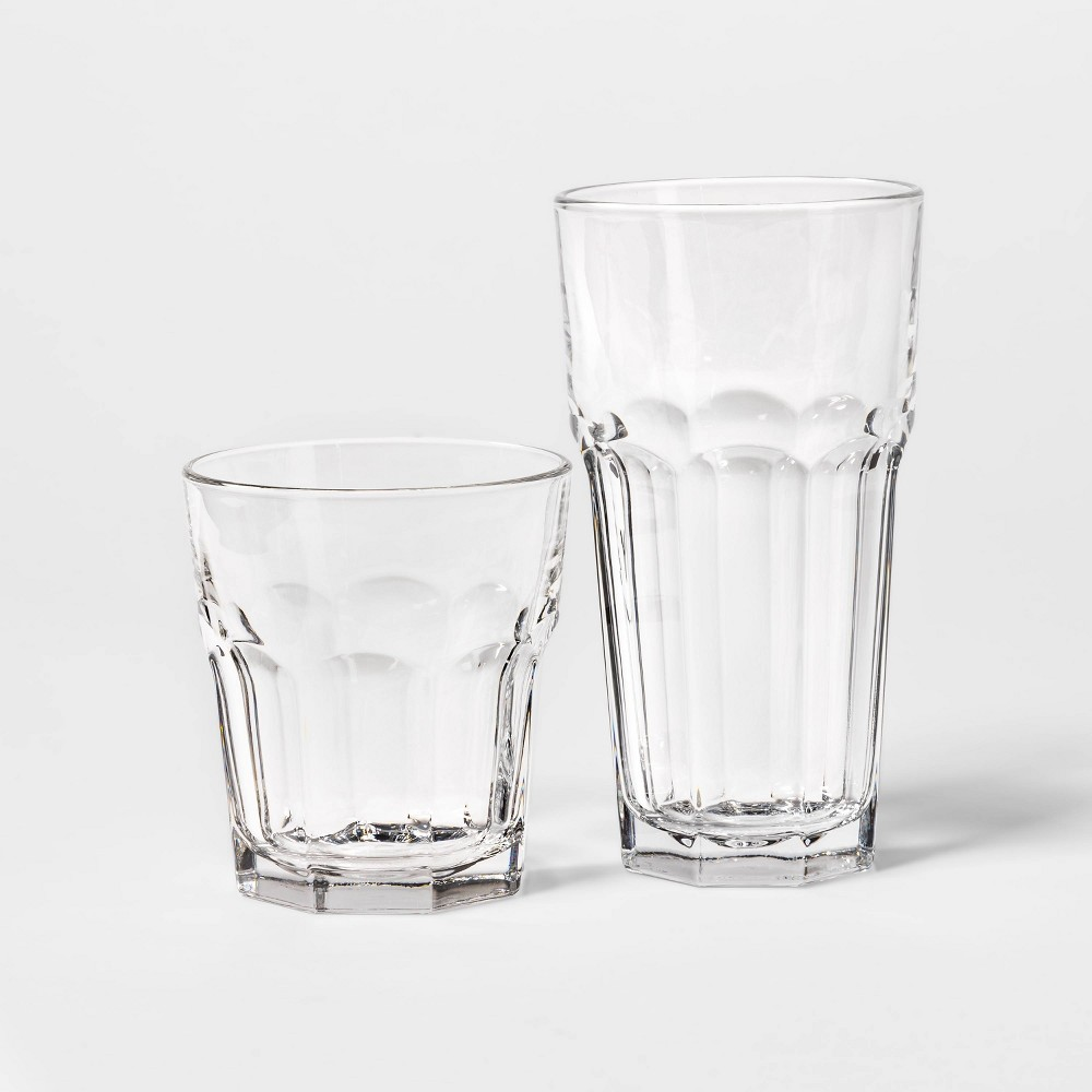 Image of 12pc Glass Gibraltor Tall and Short Faceted Tumbler Set - Threshold , Clear
