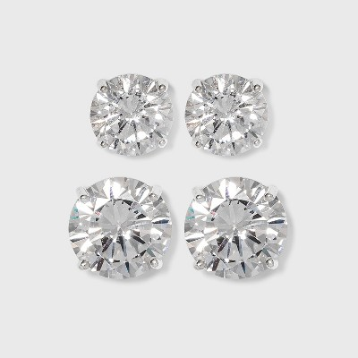 Sterling Silver Cubic Zirconia Duo Round Stud Earring Set 2pc - Clear
