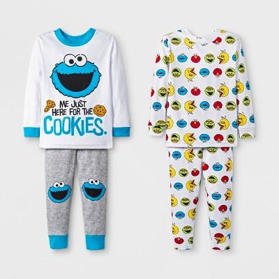 Baby Boys' 4pc Sesame Street Pajama Set - White 18M
