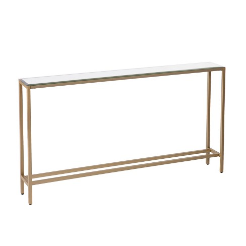 White Resin Folding Table, Dillard Narrow Long Console Table Deep Gold Aiden Lane Target