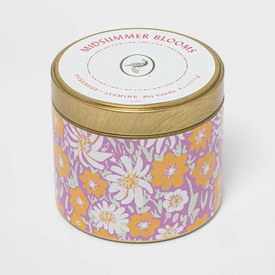 4oz Mini Patterned Tin Midsummer Blooms Candle - Opalhouse™