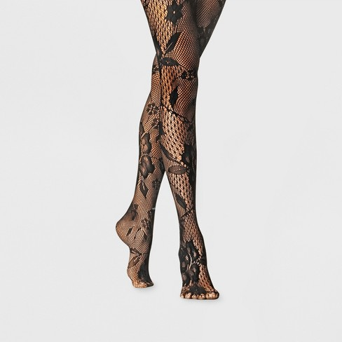 Women's Large Mix Net Floral Tights - A New Day™ Black - image 1 of 2